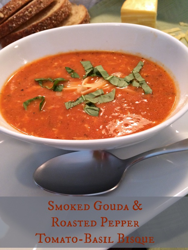 Smoked Gouda & Roasted Red Pepper Tomato-Basil Bisque