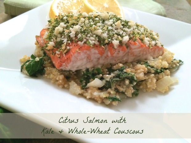 Citrus Salmon with Kale & Whole-Wheat Couscous