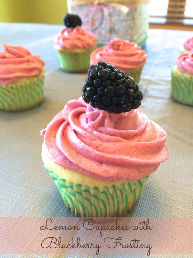 Lemon Cupcakes with Blackberry Frosting