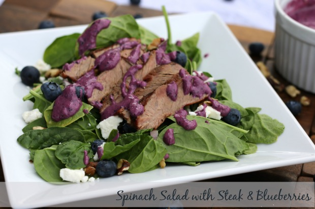 Spinach Salad with Steak and Blueberries