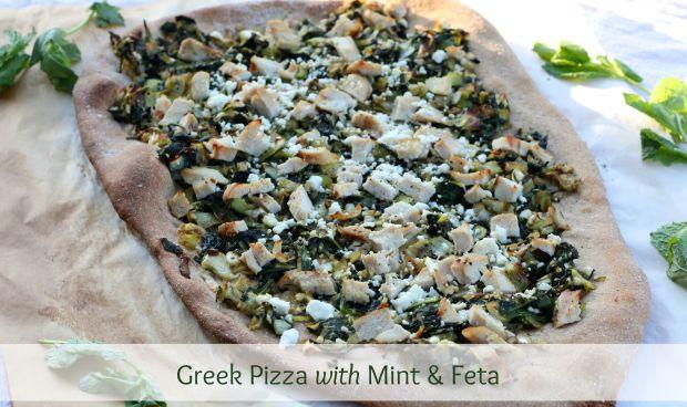 Greek Pizza with Mint & Feta