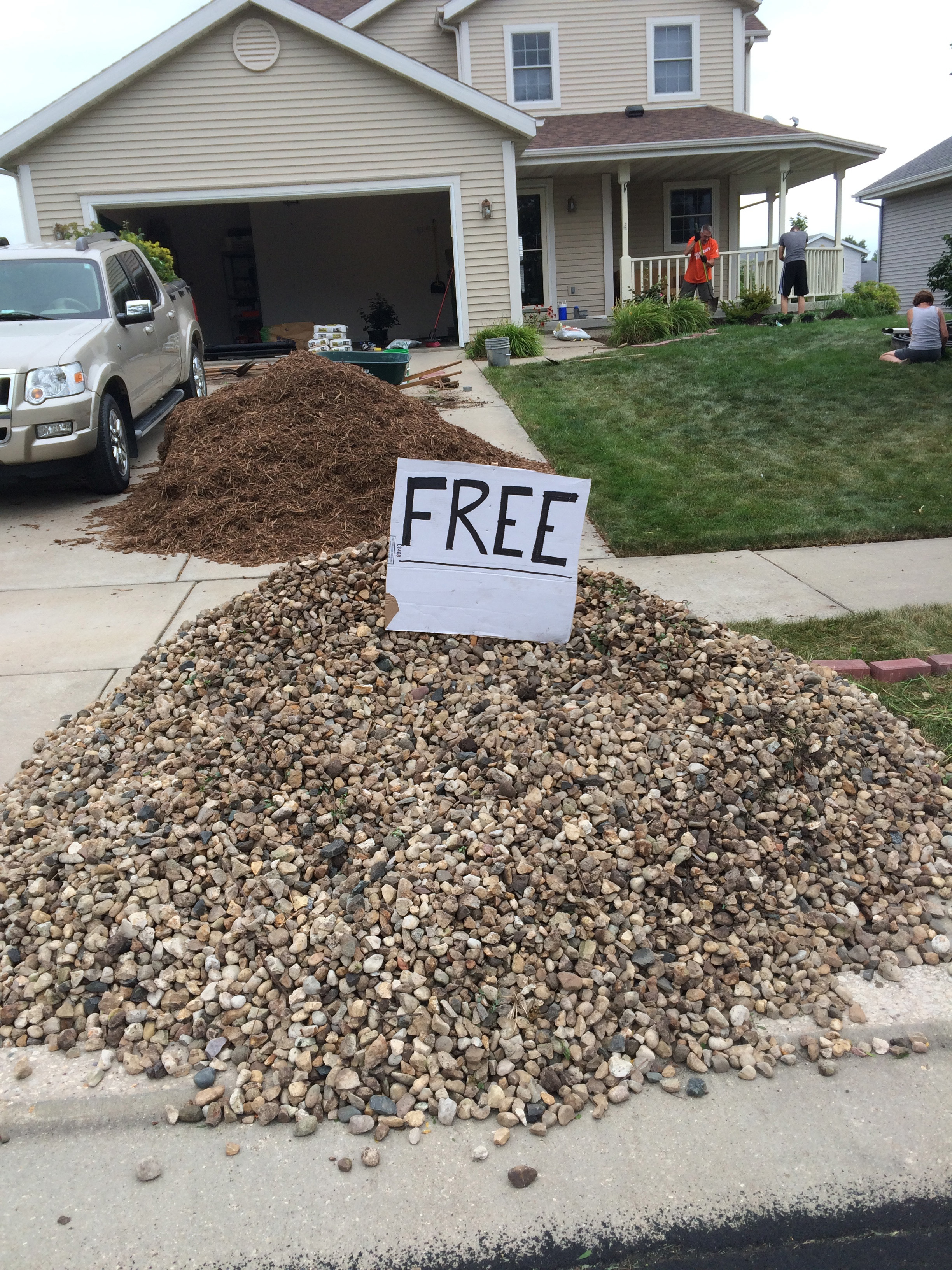 Comfort food rd in the midwest for Landscaping rock removal