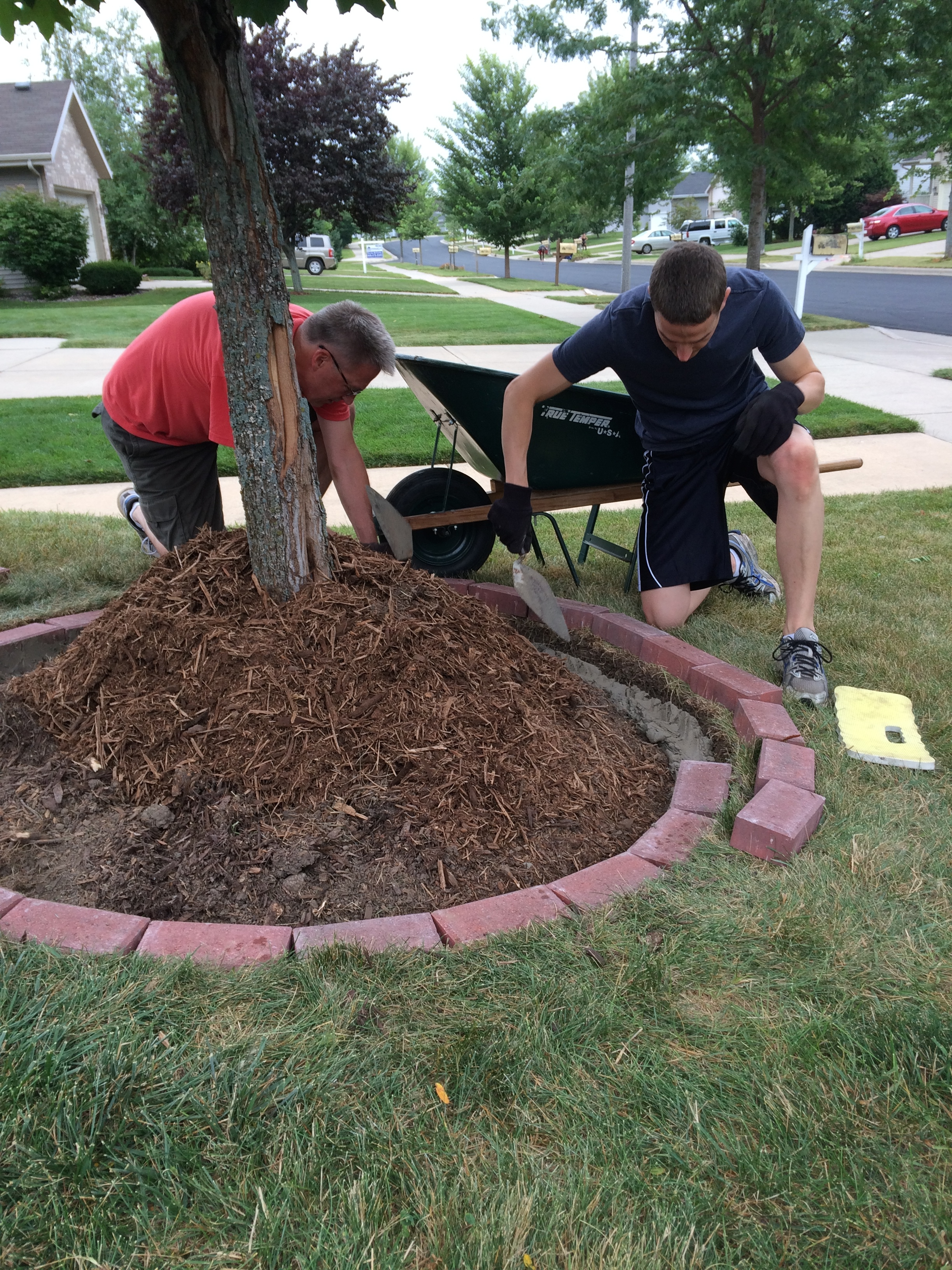 How to lay brick edging with mortar - How to lay brick border edging ...