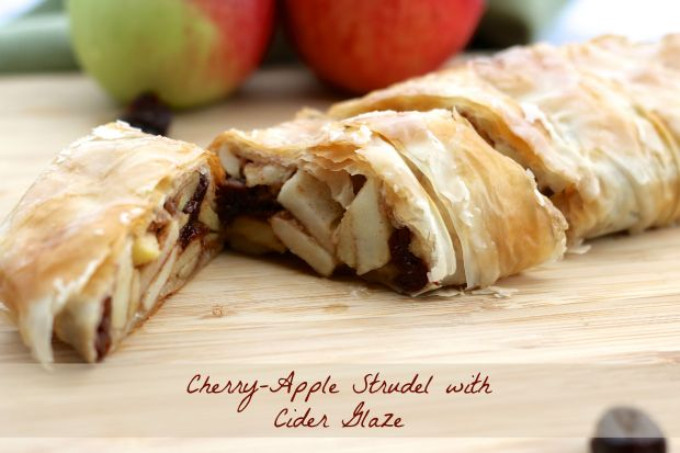 Cherry-Apple Strudel with Cider Glaze