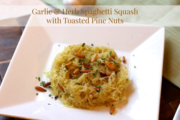 Garlic & Herb Spaghetti Squash with Toasted Pine Nuts